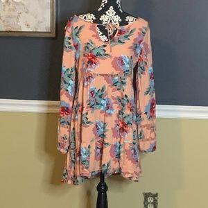 MINKPINK Coral Floral Rayon Dress Sz L